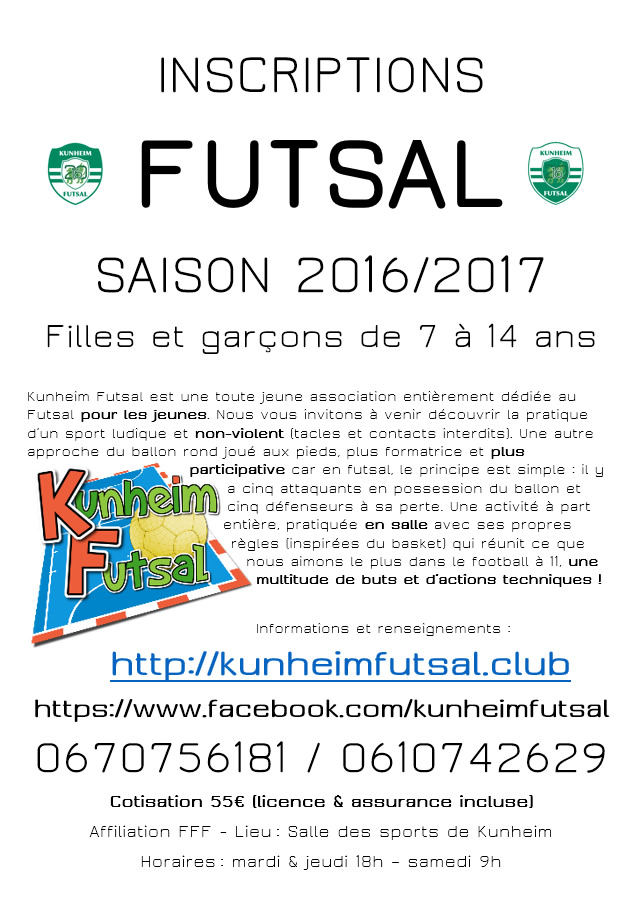 Kunheim Futsal inscription 2016-2017
